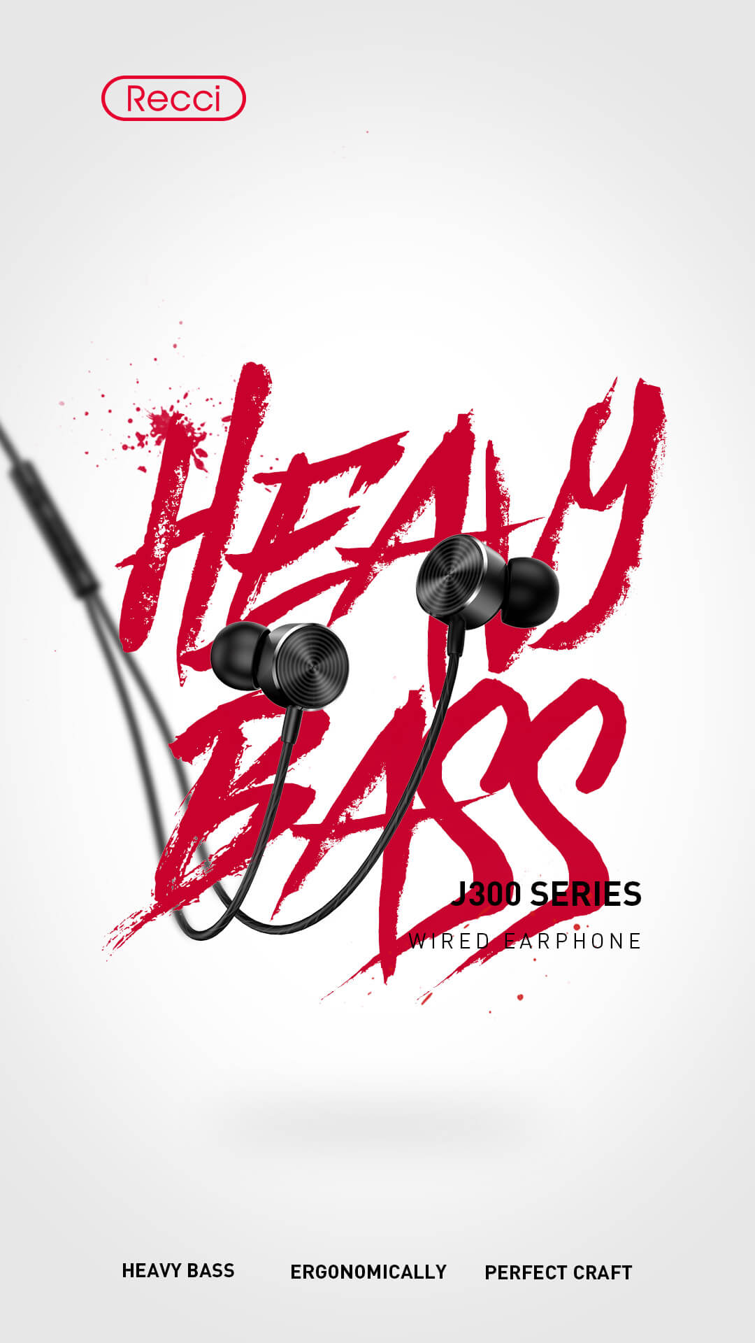 J300 Heavy Bass Earphone Recci